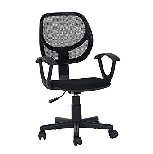 Black Office Task Desk Chair Adjustable Mid Back Home Children Study Chair