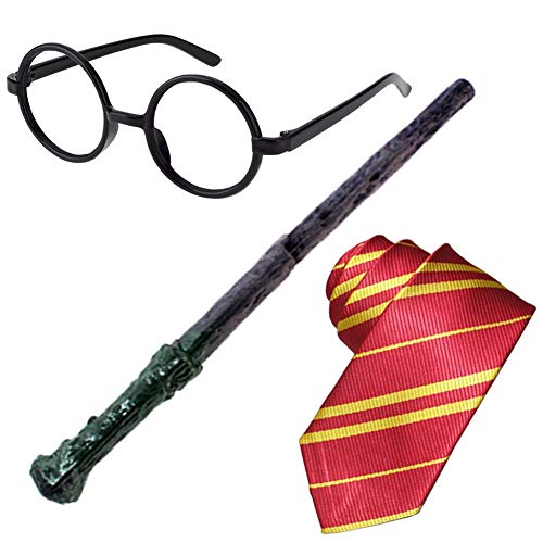 3Pcs Novelty Tie Wizard Glasses Wand Cosplay Set Dress Up Costume Accessories Halloween Birthday Gifts Party Pretend Play Set for Kids Girls Boys -