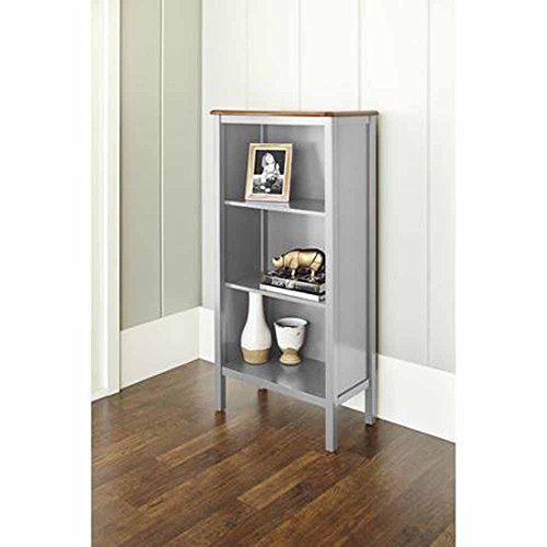 (Bookcase with 3-shelves and a Curved, Deep Walnut Finished Top Panel Is a Stylish, Noteworthy and Ideal Storage Area for Your Home or Office. This Bookshelf Is a Beautiful Cabinet That Will Put Extra Storage Space in Your Kitchen. (gray))