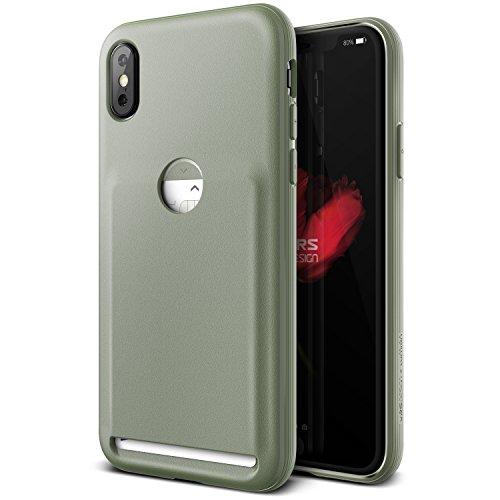 iPhone X Hülle, VRS Design® Kartenfach Schutzhülle [Grün] Schlagfesten Case Kratzfeste Stoßsichere Handyhülle [Damda Fit] für Apple iPhone X / iPhone 10 (2017)