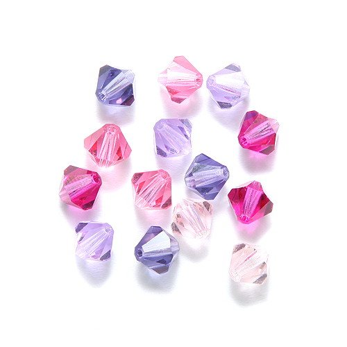 Preciosa Crystal Beads (Preciosa 60-Piece Czech Crystal Bicone Beads Set, 6 by 6mm, Mix Pink Princess)