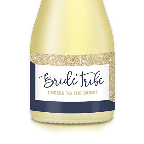 BRIDE TRIBE 20 Count Mini Champagne Bottle Labels, Bachelorette Engagement Party, Bubbly Brunch, Bridal Shower, Perfect Small Wine Decals & Wedding Attendant Gift Bags, Favors, 3.5