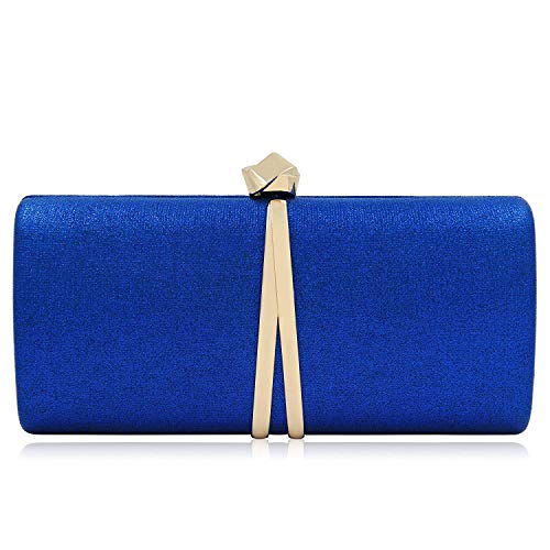 Women Clutches Solid Evening Bag Sparkling Metallic Clutch Purses For Wedding And Party (Royal Blue) (Blue Clutch Purse)
