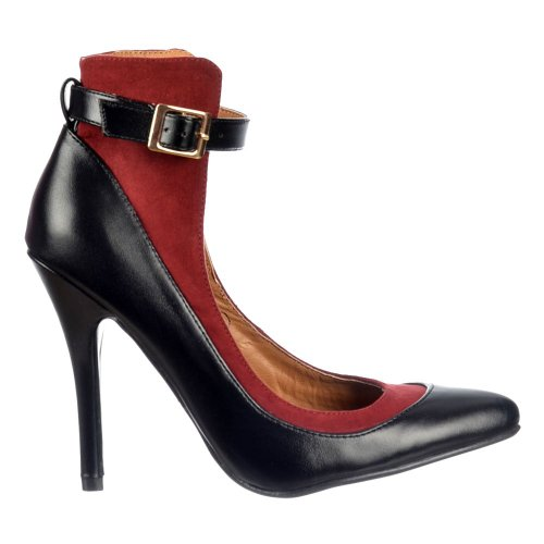 Ladies Womens Dolcis High Back Ankle Strap - Mid Heels Full Toe - Black/Burgundy, Nude/Black Black