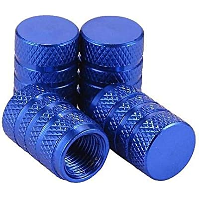 CDRAUTO Tire Valve Stem Caps, Blue, 4 Pieces/Pack, Anodized Aluminum Tire Valve Cap Set, Corrosion Resistant, Universal Stem Covers for Trucks,Cars, Motorcycles and Bikes: Automotive