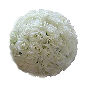 8-Inch Wedding Artificial Rose Silk Flower Ball Hanging Decoration Centerpiece Decorative Pom-poms Simulation Flower Kissing Balls Bouquet for Party Wedding Home Outdoor Event 101
