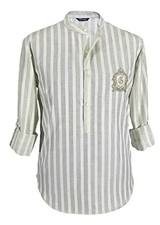 Grandeur White & Beige Mandarin Neck Shirts For Men