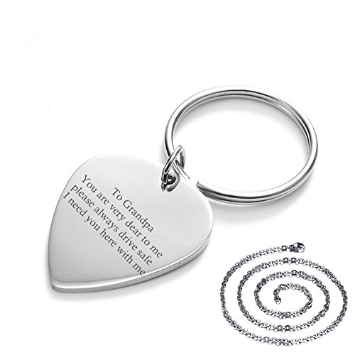 Sunling Waterproof Personalized Stainless Steel Lucky Lord's Prayers Engraved Guitar Pick Drive Safe Key Chain Necklace Pendant Set Gift for Grandpa,Grandfather Men-I Need You Here With Me