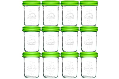 (Nellam Baby Food Storage Containers - Leakproof, Airtight, Glass Jars for Freezing & Homemade Babyfood Prep - Reusable, BPA Free, 12 x 8oz Set, that is Microwave & Freezer Safe)