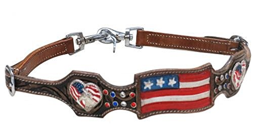 Shaped Conchos - Showman Adjustable Medium Leather Hand Painted American Flag Heart Conchos Copper Studded Wither Strap 2 Trigger Snaps