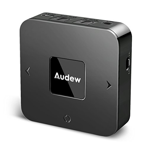 Audew Bluetooth 4.1 Transmitter and Receiver,2 in 1 3.5mm Wireless Audio Adapter for TV/Car Sound System,aptX Low Latency,Pair 2 at Once,Volume Control