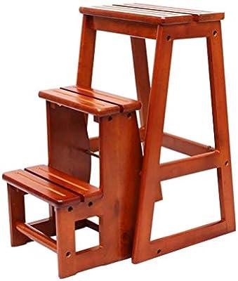 BBG Taburete de 3 Peldaños de Escalera, Taburetes de Madera Prácticos Convertibles Taburete Plegable,1: Amazon.es: Bricolaje y herramientas