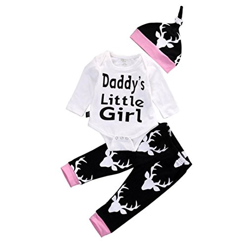 FEITONG Newborn Baby Deer Letter Print Romper Jumpsuit+Pants+Hat Set Clothes Daddy's Little Girl(3-6M,White) -