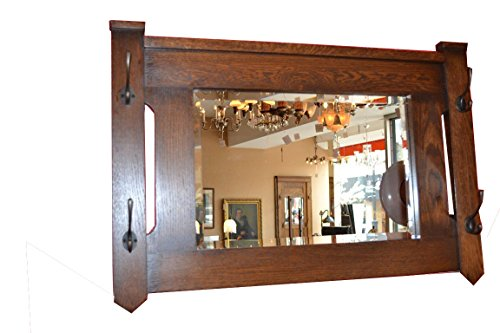 Crafters and Weavers Mission Oak Bevelled Glass Mirror with Coat Hangers Hooks - Style Craftsman Mirrors