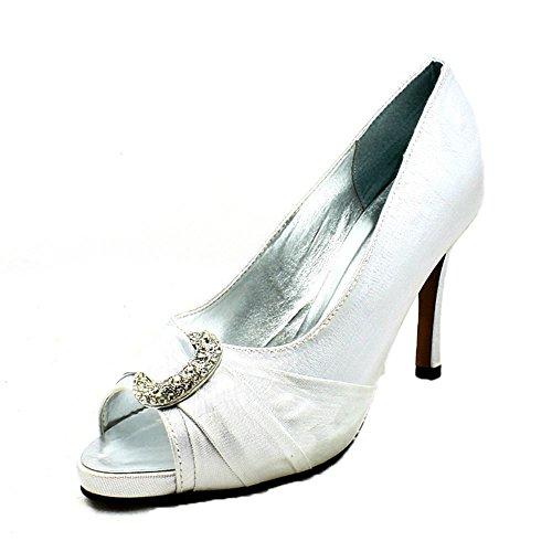 Señoras brillan zapatos de fiesta diamante media luna peep toe de tacón medio Silver
