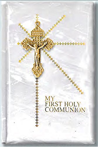 FavorOnline First Communion Missal/Prayer Book Mother of Pearl Hard Cover with Embedded Gold Cross