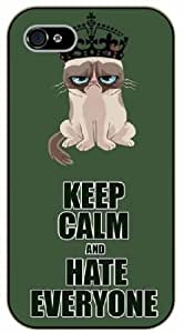 iPhone 4 / 4s Keep Calm and hate everyone, grumpy cat - black plastic case / Keep Calm, Motivation and Inspiration