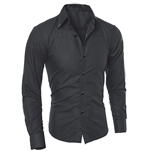 Men Tops Clearance WEUIE Man Fashion Printed Blouse Casual Long Sleeve Slim Shirts Tops (S,Black)