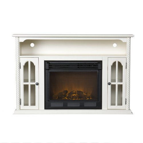 SEI Tillman Media Console with Electric Fireplace, Antique White