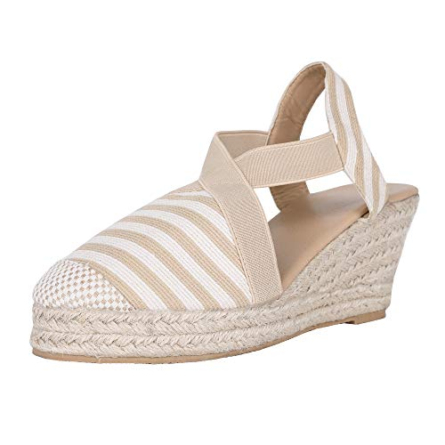 (Womens Espadrille Platform Wedge Sandals Strappy Criss Cross Closed Toe Mid Heel Sandals)