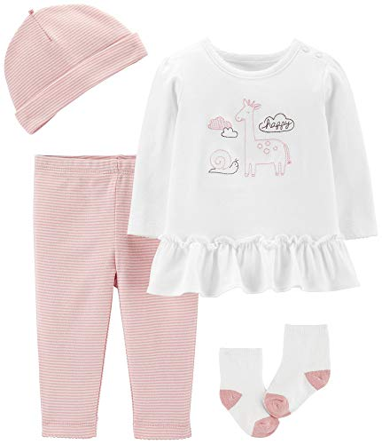 (Carter's 4-Piece Babysoft Take-Me-Home Set (Newborn) Pink and White)