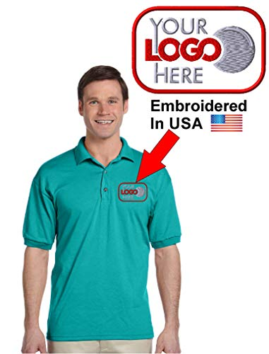 Custom Logo Embroidered Jersey Polo, Dry Blend Polo Shirt, Your Company Logo (XL, Jade) ()