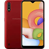 "Samsung Galaxy A01 (A015M) 16GB, Dual SIM, GSM Unlocked, 5.7"" Display Smartphone – International Version – Red"