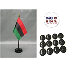 """Made in the USA!! Box of 12 African American 4""""x6"""" Miniature Desk & Table Flags Includes 12 Flag Stands & 12 Afro American Small Mini Stick Flags"""