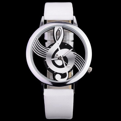 Musical Note Dial Quartz Movement Watch with Leather Band - Black
