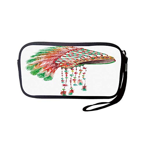 (iPrint Neoprene Wristlet Wallet Bag,Coin Pouch,Feather,Tribal Chief Costume Headdress Native American Culture Ethnicity Symbol Decorative,Vermilion Orange Green,for Women and)
