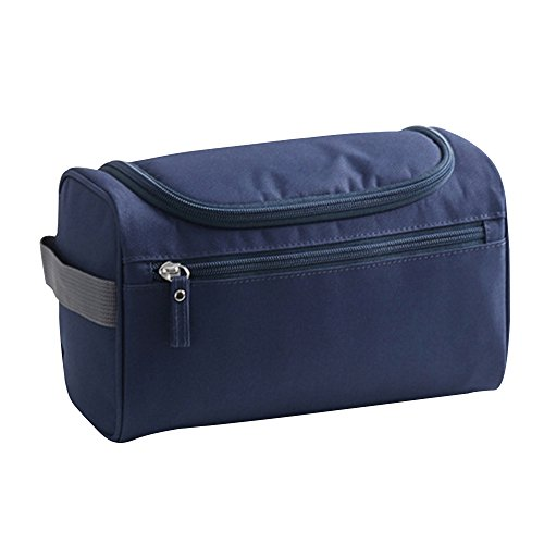 Baiyu Unisex Wash Toiletry Bag Makeup Organizer Handbag Waterproof Cosmetic Bags Household Storage Pack Travel Kit Organizer Bathroom Storage with Hanging Hook--Dark (Studded Dark Wash)