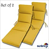 SET OF 2  22x74x5 Sunbrella Indoor/Outdoor Fabrics In Sunflower CHANNELED  CHAISE CUSHION By Comfort Classics Inc.