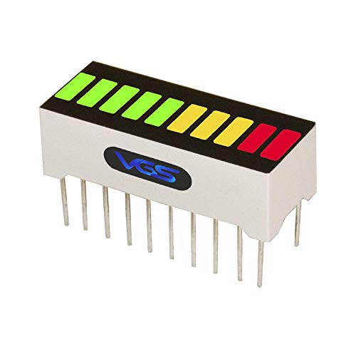 Led Bar Graph - New Single Panel 10 Segment LED Bar Graph Display with 3 Colors (2X Super Bright Red+ 3X Yellow + 5X Super Bright Green) LED Bar Graph (DIY or Arduino)