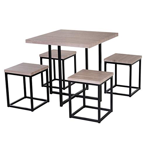 HOMCOM 5 Piece Wood Steel Space Saving Dining Room Table Set with Stools