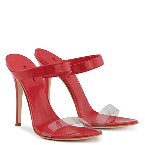 Red CLOVER Escarpins Toe Cour 46 A LUCKY Hauts Talons PU Pompes Peep EU38 Sandales Transparent EU44 Satin Talon Femmes Nuptiale Stiletto 6xAdHxw