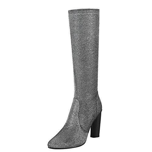 Mee Shoes Women's Chic Zip High Block Heel Pointed Toe Knee Boots Silver