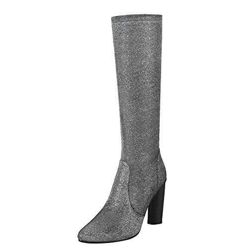 Mee Shoes Damen high heels langschaft warm gefüttert Stiefel Silber