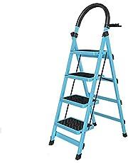 Stepladder Portable Multi-Purpose Portable Telescopic Ladder,Retractable Handgrip 6 Step Ladder Safety Wide Pedal Step Stool 150KG