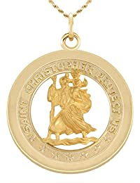 1.0in Solid 14k Yellow Gold St Saint Christopher Pendant Charm Necklace