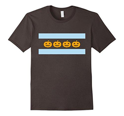 Halloween Chicago (Mens Halloween Pumpkins Flag of Chicago Shirt 3XL Asphalt)
