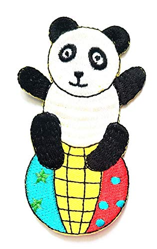 Nipitshop Patches Pretty Panda Bear on The Ball Cartoon Kids Patch Embroidered Iron On Patch for Clothes Backpacks T-Shirt Jeans Skirt Vests Scarf Hat Bag ()