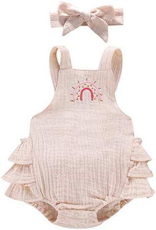 LUCSUN Pasgeboren Baby Meisjes Regenboog Print Romper Bodysuit Baby Eendelige Outfits Zomer Kleding
