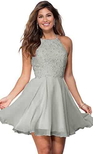 49c3aea9341 Women s Halter Open Back Beaded Chiffon Formal Prom Dress Short Lace  Homecoming Dresses