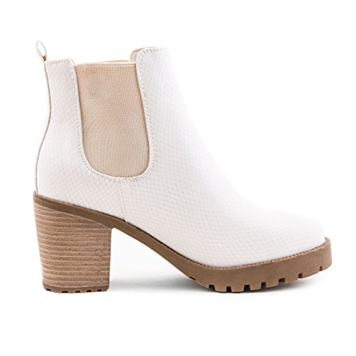 Stylische Boots Beige Lederoptik Blockabsatz Stiefeletten in London Ankle Damen mit hochwertiger Chelsea Weiß Pr1trq