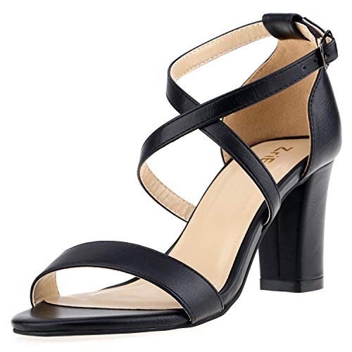 (ZriEy Women's Chunky Block High Heels Across Strappy Sandals Fashion Sexy Heeled Sandals )