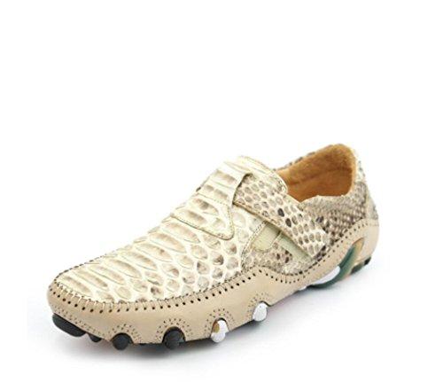 Nbwe Mocassini Da Uomo Di Alta Gamma Personalizzati Scarpe Fatte A Mano In Pelle Di Serpente Grossa Scarpe Casual Scarpe Di Cuoio Moda Scarpe Beige