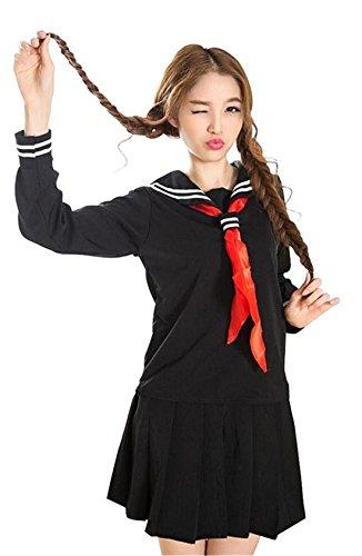 Nuoqi® Damen Japanisch Einheitliche Kurzarm Schuluniform sailor uniform Halloween Cosplay Kostüm