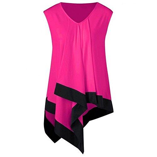 DongDong Irregular V Neck Tank Top,Women Summer Color Block Casual Loose Sleeveless T-Shirts -