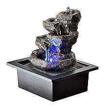 Zen'Light Galou Fuente de Interior, Resina, Gris, 21 x 17 x 23 cm