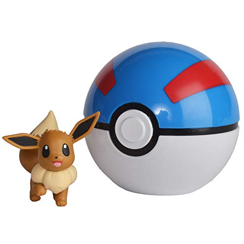 Wicked Cool Toys Pokemon Official Eevee Clip and Go, Comes with Eevee Action Figure and Poke Ball